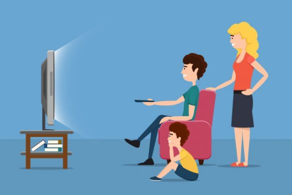 family watching moives and shows on tv
